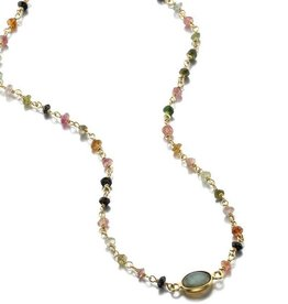 Libi Necklace Tourmaline Labradorite 14""