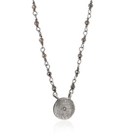 Mini Disc Antiqued Necklace Pyrite RH 14""