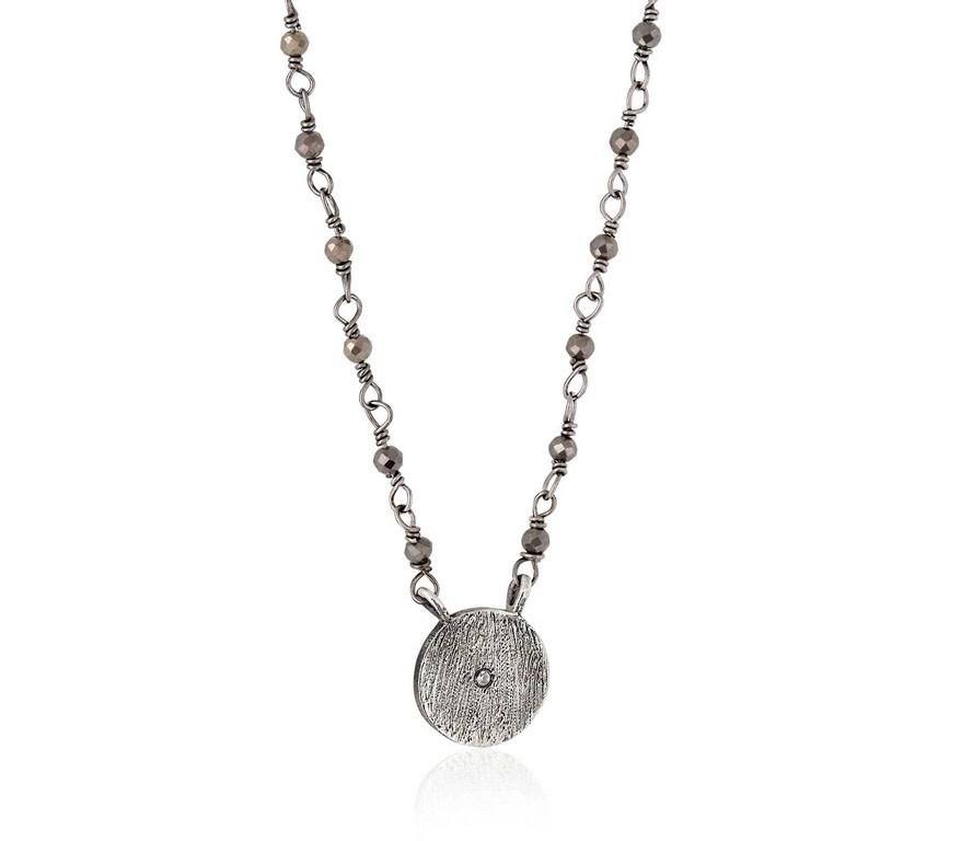 "Mini Disc Antiqued Necklace Pyrite RH 14"""