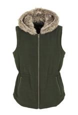Tribal Vest w/ Fur Hood Olive