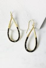Deco Diamond Teardrop Earrings Black