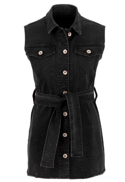 Tribal Sleeveless Maxi Vest W/ Tie Faded Black