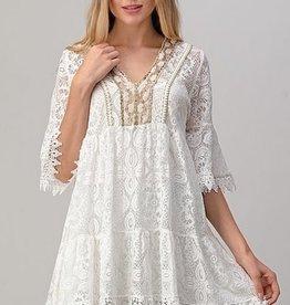 Embellished  V-Neck Lace Tunic White