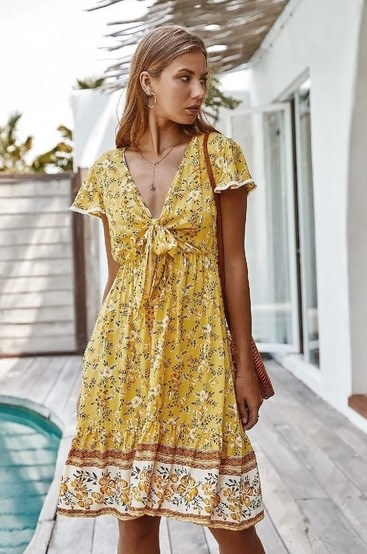 Front Tie Floral Printed Dress Yellow