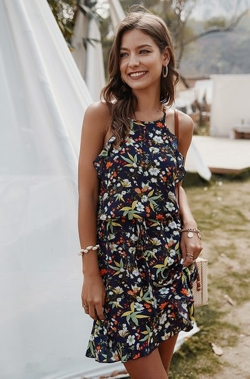 Floral Print Drawstring Dress Navy