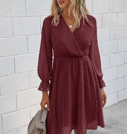 Ditsy Dot Long Sleeve Casual Dress