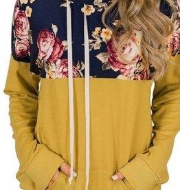 Mock Neck Floral Pocket Pullover Top Mustard