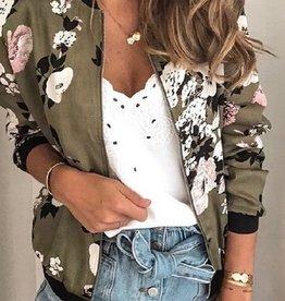 Floral Printed Zip Up Bomber Jacket Olive