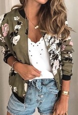 Floral Printed Zip Up Bomber Jacket Olive