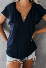 Solid Short Ruffle Sleeve Top Navy