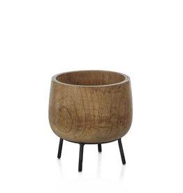 Mango Wood Bowl on Stand - Small