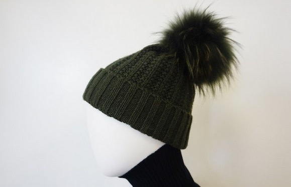 Linda Richards Fold Over Genuine Fur Pom Pom Hat