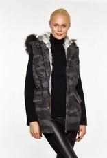 Linda Richards Camo Vest with Fur Trim