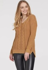 Tribal V-Neck Cable Sweater Maple