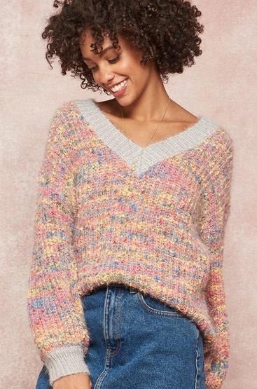 Multicolor Knit Sweater Pink/Grey