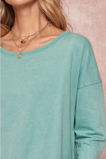 Mineral Washed French Terry Top Jade