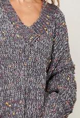 Multicolor Popcorn Knit Sweater