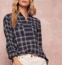 Button Front Plaid Shirt Navy
