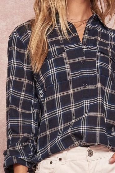 Button Front Plaid Shirt Navy