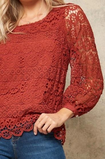 Floral Crochet Lace Top Rust