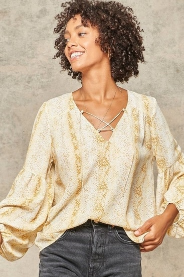 Snake Print Bubble Sleeve Top Yellow