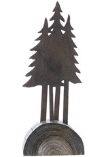 Metal Cluster of Trees on Wood Stand