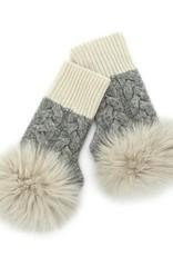 Ivory & Grey Cableknit Fingerless Glove w/ Fox Trim