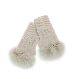Pearl Knitted Fingerless Gloves w/ Crystals & Fox Trim