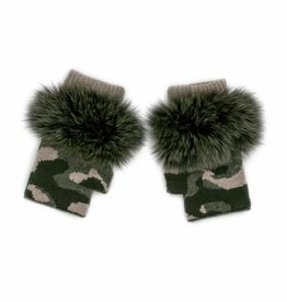 Khaki & Beige Knitted Camo Fingerless Gloves