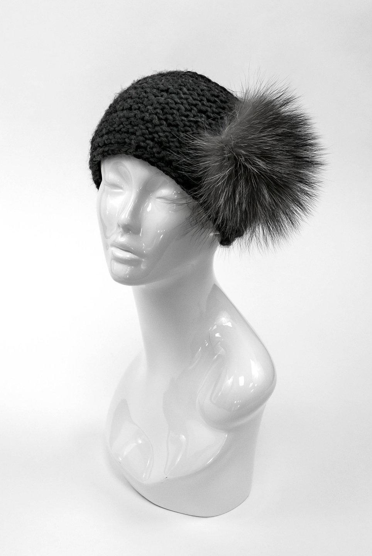 Grey Knitted Acrylic Headband w/ Indigo Fox Pom
