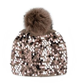 Taupe Knit Beanie w/ Full Sequins & Taupe Fox Pom