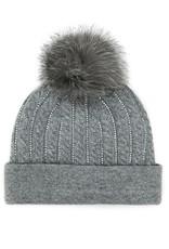 Grey Cable Knitted Hat w/ Fox Pom Pom
