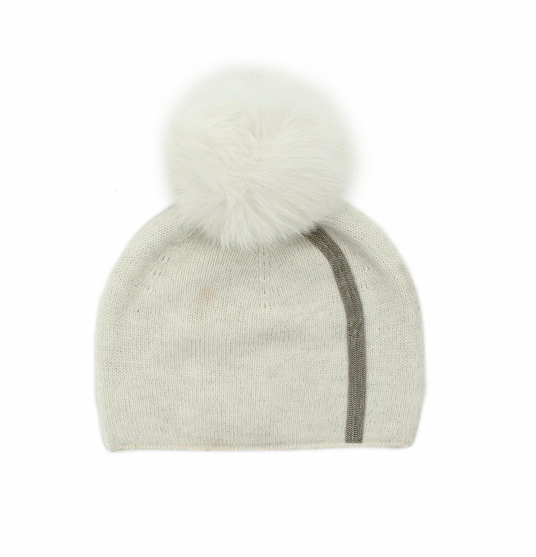 White Knitted Hat Metallic Stripe w/ Fox Pom Pom