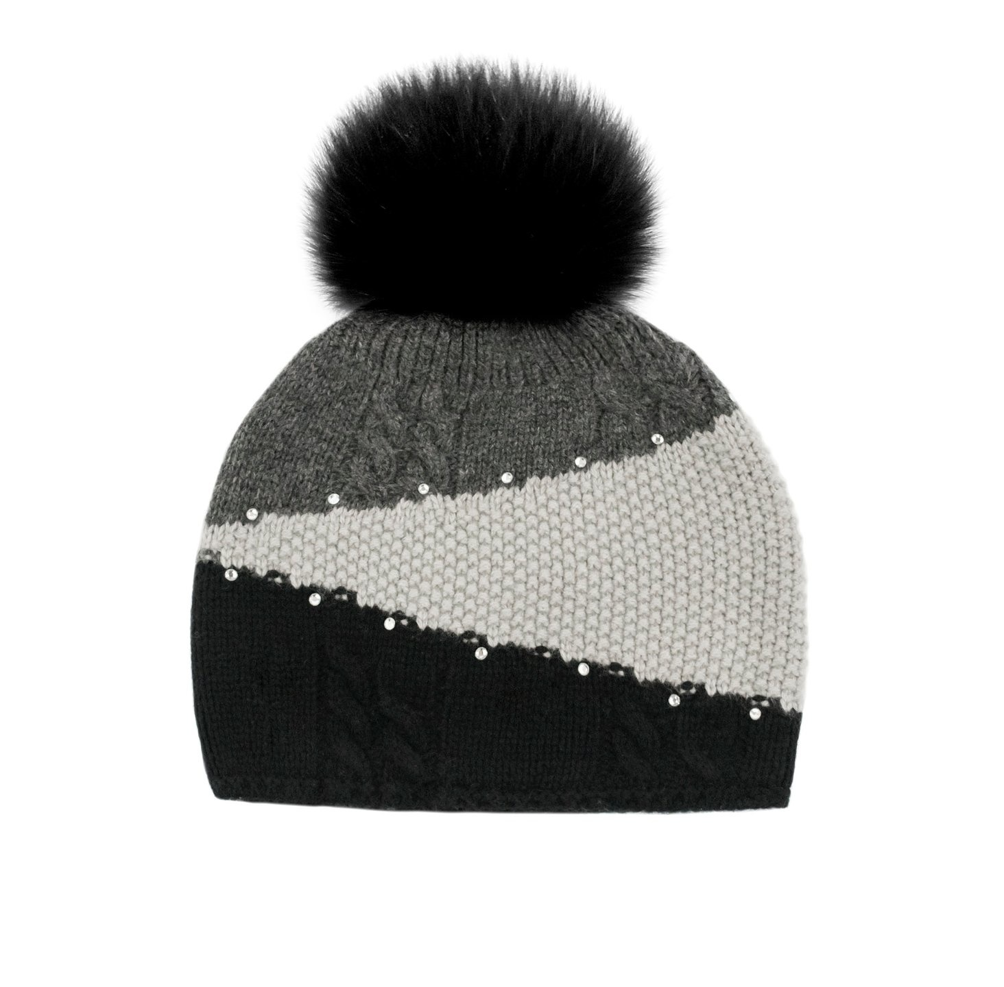 Black Colorblock Knitted Hat w/ Black Fox Pom