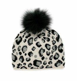 Pearl, Blk & Grey Animal Print Hat w/ Crystals & Fox Pom