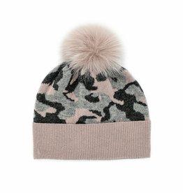 Charcoal, Dusty Pink & Grey Camo Hat w/ Lurex & Fox Pom