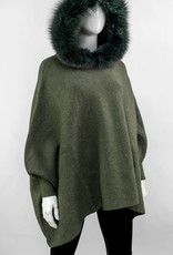 Khaki Knitted Poncho w/ Hunter Green Fox Trimmed Hood