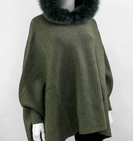 Khaki Knitted Poncho w/ Hunter Green Fox Trimmed Hood