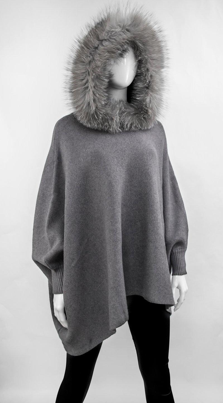 Grey Knitted Poncho w/ Indigo Fox Trimmed Hood