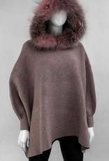 Dusty Pink Knitted Poncho w/ Fox Trimmed Hood