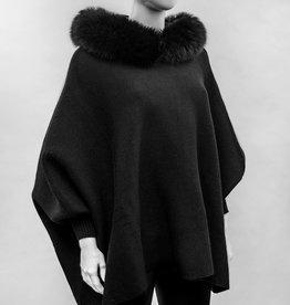 Black Knitted Poncho w/ Fox Trimmed Hood