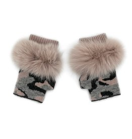 Charcoal, Dusty Pink & Grey Knitted Camo Fingerless Gloves
