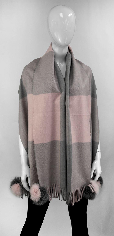 Pink Colorblock Scarf w/ Fox Pom Pom
