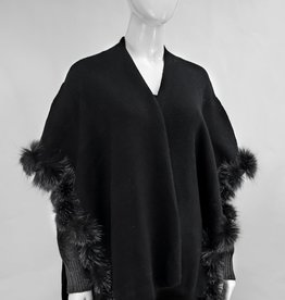 Black & Charcoal Wrap w/ Contrasting Sleeves & Fox Front