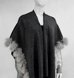 Charcoal & Grey Wrap w/ Contrasting Sleeves & Fox Front