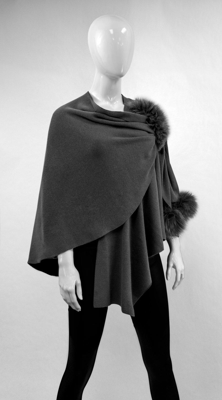 Charcoal Wool Wrap w/ Pull Through Loop & Fox Poms