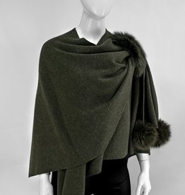 Khaki Wool Wrap w/ Pull Through Loop & Fox Poms