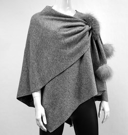 Lt Grey Wool Wrap w/ Pull Through Loop & Fox Poms