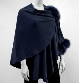 Navy Wool Wrap w/ Pull Through Loop & Fox Poms