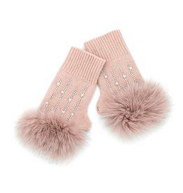 Soft Pink Knitted Fingerless Gloves w/ Crystals & Fox Trim